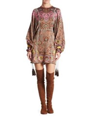 Etro Printed Silk Tunic Mocca Multi