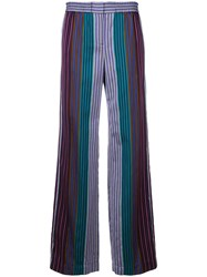 Paul Smith Ps By Striped Wide Leg Trousers Blue