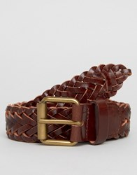 New Look Woven Leather Belt In Dark Brown Brown