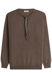Brunello Cucinelli Cashmere Pullover With Embellished Tie Neckline Brown