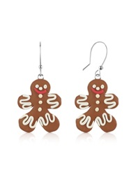 Dolci Gioie Gingerbread Man Earrings Brown