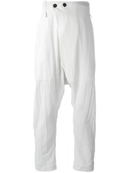 Lost And Found Ria Dunn Folded Front Pinstripe Trousers White