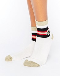 Asos Bee Embroidered Ankle Socks Cream
