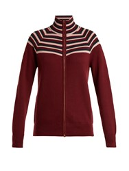 Gabriela Hearst Delia Striped Cashmere Blend Cardigan Burgundy Multi