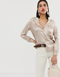 Neon Rose Vintage Blouse With Crochet Trim In Satin Cream