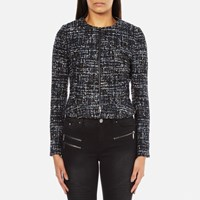 Karl Lagerfeld Women's Sparkle Boucle Jacket With Zip Total Eclipse