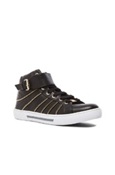 Versace Zipper Detail High Top Leather Sneakers In Black