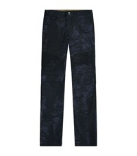 Billionaire Slim Leather Patch Biker Jeans Male Dark Blue