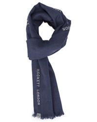 Hackett Navy Logo Checked Scarf Blue