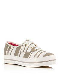 Kate Spade New York Triple Kick Stripe Platform Sneakers Grey