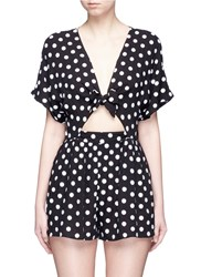 Mara Hoffman Polka Dot Embroidered Tie Front Rompers Multi Colour