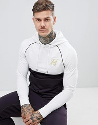 Sik Silk Siksilk Hoodie In Navy With Contrast White Panel