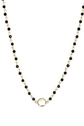 Nordstrom Rack Rosary Glass Bead Necklace Black