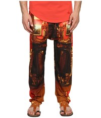 Vivienne Westwood Wallace Print Viscose Squiggle Trousers Red Wallace Men's Casual Pants Orange