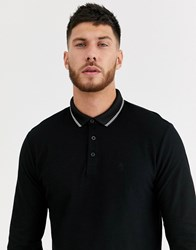 River Island Long Sleeve Tipped Polo In Black