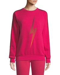Aviator Nation Bolt Fade Side Stripe Pullover Sweatshirt Pink