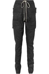 Rick Owens Coated Denim Tapered Pants Black