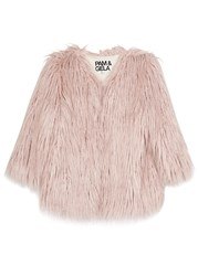 Pam And Gela Light Pink Cropped Faux Fur Coat