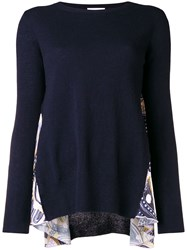 Dondup Side Printed Panel Sweater Blue