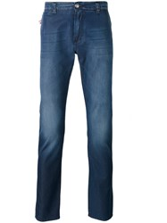Isaia Faded Slim Fit Jeans Men Cotton 50 Blue