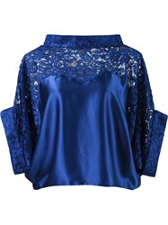 Martha Medeiros Lace Panel Crop Blouse Blue