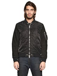 Diesel Nylon Sateen And Suede Bomber Jacket