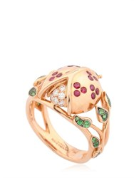 Aurelie Bidermann Ladybird And Leaves Ring