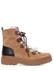 Tod's 50Mm Suede And Fur Trekking Boots Brown