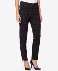 Catherine Malandrino Fele Brocade Straight Leg Ankle Pants Black