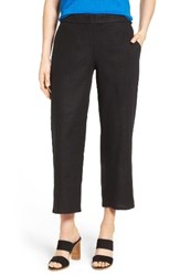 Eileen Fisher Women's Organic Linen Crop Pants Black