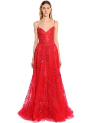 Zuhair Murad Beaded Tulle Floral Gown Red