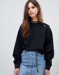 Miss Sixty Sweatshirt With Distressing And Neck Logo Black