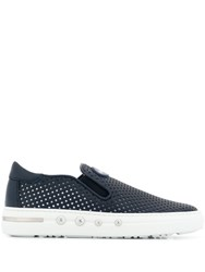Baldinini Perforated Detail Slip On Trainers Blue