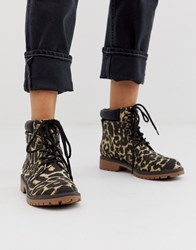 Call It Spring By Aldo Sonney Lace Up Chunky Ankle Boots In Animal Print Multi