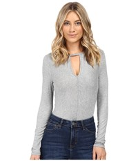 Brigitte Bailey Cora Long Sleeve Keyhole Bodysuit Grey Women's Jumpsuit And Rompers One Piece Gray