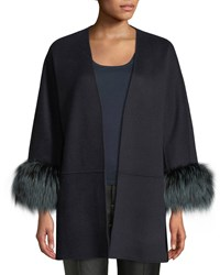 Neiman Marcus Luxury Double Faced Cashmere Open Front Swing Jacket With Fox Fur Cuffs Navy
