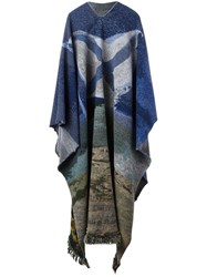Golden Goose Deluxe Brand 'Sutart' Intarsia Patterned Poncho Blue