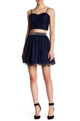 City Triangles 2 Piece Lace Embellished Dress Blue