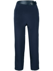 Max And Moi Eyelet Detail Cropped Trousers Blue