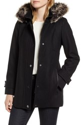 London Fog Faux Fur Hooded Wool Car Coat Black