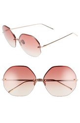 Linda Farrow Women's 63Mm Semi Rimless Round Titanium Sunglasses Rose Gold Burgundy Rose Gold Burgundy