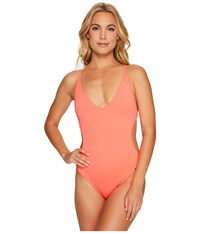 Vince Camuto Pacific Coast Studded Plunge Double Cross Back One Piece Pop Coral Women's Swimsuits One Piece Orange