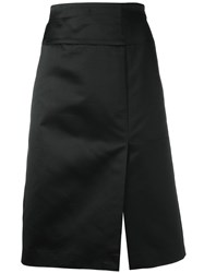 Celine Vintage Satin Side Slit Skirt Black