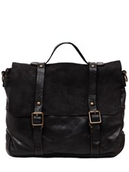Campomaggi Vintage Effect Leather And Suede Briefcase Black