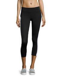 Babakul Colorblock Mesh Inset Capri Leggings Black White