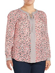 Basler Plus Size Printed Long Sleeve Blouse Light Red