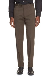Men's John Varvatos Star Usa Flat Front Solid Wool Trousers Brown