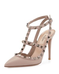 Valentino Rockstud Leather T Strap Pump Light Ivory