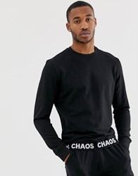D Struct Slogan Tape Crew Neck Sweat Black