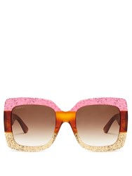 Gucci Oversized Square Frame Sunglasses Pink Multi